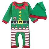 Mombebe Bebè Natale Costume Pupazzo Di Neve Pagliaccetto con Cappello (Elfo Di Natale, 6-9 Mesi)