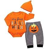 puseky - Tutina da Neonato per Halloween, a Maniche Lunghe, Pagliaccetto, Pantaloni, Cappelli, Costumi di Halloween Orange 6-12 Mesi