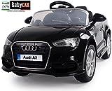 Babycar 99852n - Auto Elettrica per Bambini Audi A3 con Telecomando, 12 Volt, Nero