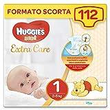 Huggies Pannolini Bebè Extra Care, Taglia 1 (2-5 kg), Confezione da 112 Pezzi