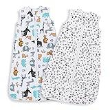 Lictin Sacco a Pelo per Bambini Cotone Unisex - 2 Pcs Regolabile 90-110 cm per Neonati 18-36 Mesi,Design degli animali, Stelle e luna 0.5 Tog