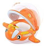Peradix Piscina Salvagente per Bambini con Tettuccio Mutandina e Patch di Riparazione (Arancione-Bianco)