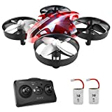 Mini Drone per Bambini e Principianti AT-66 RC Quadcopter Droni Elicottero Giocattolo ,3D Flip modalità Headless 2 Due Batterie (Rosso)