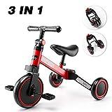 besrey Tricicli 3 in 1 Triciclo per Bambini / Triciclo Senza Pedali/ Bicicletta Senza Pedali - Red