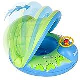 Peradix Piscina Salvagente per Bambini con Tettuccio Mutandina e Patch di Riparazione (Blu - Verde)