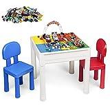 LADUO Tavolino Bambini con Sedie, 5 in 1 Tavolo da Multiattivita con Blocchi di Particelle Grandi e Piccoli Tavolo da Studio, Include 2 Sedie & 100 Pezzi Mattoni Costruzione Giocattolo