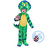 Spooktacular Creations Costume da Dinosauro per Bambini Triceratops Kids Dinosauro Vestito per Halloween Dress Up Dinosaur Party (Verde) (Green, Small)