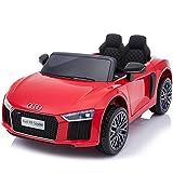 TOYSCAR electronic way to drive Auto Macchina Elettrica 12V R8 Spyder per Bambini LED MP3 con Telecomando Sedile in Pelle Rossa