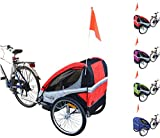 PAPILIOSHOP EAGLE Rimorchio carrello per il trasporto di 1 o 2 bambini in bici (Rosso)