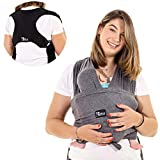 Koala Babycare® Fascia porta bambino facile da indossare (easy on), regolabile unisex - Marsupio neonati multiuso adatto fino a 10kg - Fascia porta bebe - Antracite - Design Registrato KBC®