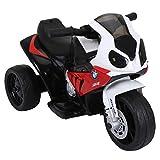 homcom Moto Motocicletta Elettrica per Bambini BMW S1000RR Ufficiale 3 Ruote con Luci e Suoni Realistici, 6V 66x37x44cm
