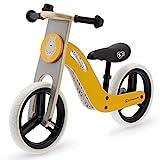 kk Kinderkraft Bici Senza Pedali UNIQ, Bicicletta in Legno, Sella Regolabile, Ruote Resistenti, 2 Anni-35 kg, Colore Giallo