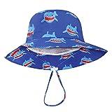 DRESHOW, Cappello da bambini con protezione solare UPF 50+, unisex, con animali, cappello da pescatore per l'estate con sottogola Blu Disonar 4-7 anni