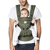 Ergobaby Marsupio Neonati Ergonomico, Verde Kaki Cool Air Omni 360 4-Posizioni, Porta-Bebe per 0 Mesi a Bambino 20kg