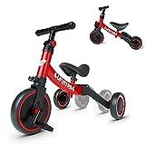 besrey Tricicli 5 in 1 Triciclo per Bambini da 1 a 4 Anni,Triciclo Senza Pedali,Bicicletta Senza Pedali,Rosso