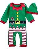 MOMBEBE COSLAND Bimbo Natale Elfo Costume Bebè Pagliaccetto (Verde, 12-18 Mesi)