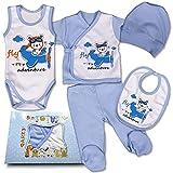 QAR7.3 Completo Vestiti Neonato 3-6 mesi - Set Regalo, Corredino da 5 pezzi: Body, Pigiama, Bavaglino e Cuffietta (Blu, taglia 62)