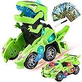 Dinosaur Giocattoli Transformer Cars, 2 in 1 Dinosaur Trasformers Giochi Robot con Luci e Suoni, Dinosaur Macchina Transformers per Bambini Ragazzi Ragazze