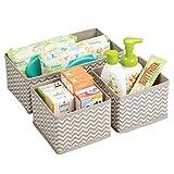 mDesign set da 3 scatole per armadio – comode scatole portaoggetti e organizer in tessuto ideale per accessori e giocattoli - Colore: talpa, nature
