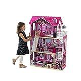 Kidkraft 65093 Casa delle Bambole in Legno Amelia per Bambole di 30 Cm con 15 Accessori Inclusi e 3 Livelli di Gioco, Alto 120,9cm, 3, 8 anni