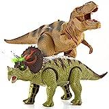 JOYIN 2 in 1 Dinosauro Realistico a Piedi T-Rex Giocattolo Elettronico e Triceratopo con Suoni Ruggenti