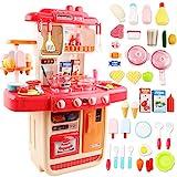 deAO Cucina Mio Piccolo Chef con Caratteristiche di Suoni, Luci e Acqua Cucina Giocattolo Include 34 Accessori (Rosa)