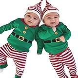 Zolimx Outfit Natale Set, Bambino Vestiti di Natale Neonati Ragazzi Ragazze Babbo Alce Manica Lunga Pagliaccetto Tutine + Cappello Sets Bambini Inverno Autunno Natale Festa Outfits