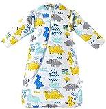 Chilsuessy - Sacco nanna invernale per bambini, maniche rimovibili, imbottitura calda, 3,5 Tog, per bambini da 6 mesi a 6 anni, dinosauro, XL / altezza 110 - 125 cm