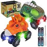 joylink Veicoli per Dinosauri, 2 PCS Auto di Dinosauro con Luci e Suoni a LED e Giocattolo Dinosaure Automobili Auto Dino Regali Perfetti per Bambini di 3-8 Anni