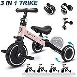 XJD 3 in 1 Triciclo per Bambini Bicicletta Equilibrio Adatto per età 1-3 Anni Certificazione CE (Rosa Chiaro)