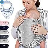 Makimaja - Fascia porta bebè grigio chiaro – tracolla di alta qualità per neonati e bambini fino a 15 kg – cotone leggero – include una borsa portaoggetti e un bavaglino