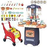 deAO Cucina Mio Piccolo Chef con Caratteristiche di Suoni e Luci Set da Cucina Giocattolo in Miniatura per Bambini con 50 Accessori Inclusi (Blu)