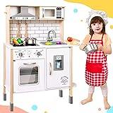 Tiny Land Cucina-Giocattolo-per-Bambini con 18 Accessori per Cibo e pentole Giocattolo Set da Gioco Set da Gioco per Chef in Legno per Bambini con luci e Suoni Reali