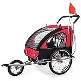 SAMAX Rimorchio Bicicletta Passeggino Bambini 2en1 Carello Portabambini Bici Transporto Sicurezza Completamente Ammortizzato en Rosso/Nero - Silver Frame