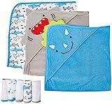 Simple Joys by Carter's 8-Piece Towel And Washcloth Set Baby-Bath-Towels, Squalo/Dinosauri, Taglia Unica, Pacco da 8