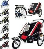 PAPILIOSHOP LEON Rimorchio passeggino carrello per il trasporto di 1 2 bambini