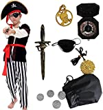 Tacobear Costume Pirata Bambino con Accessori Pirata Eyepatch pugnale Bussola Borsa orecchino Medaglione d'oro Costume di Halloween per Bambini Pirata Fancy Dress Ragazzo (S 4-6 Anni)