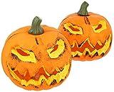 com-four 2X Zucca con Illuminazione a LED - Lanterna per Halloween e Autunno - Zucca Decorata con Un Sorriso Spaventoso (002 Pezzi - Zucca 16 cm)