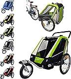 PAPILIOSHOP LEON Rimorchio passeggino carrellino per il trasporto di 1 o 2 uno due bambino bambini con la bici ruota anteriore piroettante bicicletta portabimbo bimbo bimbi portabimbi carrello pieghevole carrozzina da con x porta (New Verde)