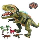 WISHTIME Dinosauro a Controllo remoto ElectricToy Kids RC Animal Toys LED Light Up Dinosaur Walking And Roaring Realistico T-Rex Robot Toys per i più Piccoli Ragazzi Ragazze