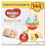 Huggies Pannolini Bebè Extra Care, Taglia 2 (3-6 kg), Confezione da 144 Pannolini