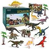 BeebeeRun Dinosauro Giocattolo Set di 15,Dinosauro Jurassic Mondo Giocattoli per Bambini 12 Realistico Forma di Dinosauro+2 Albero+1 Libro dei Dinosauri