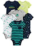 Simple Joys by Carter's Baby - Body a maniche corte, confezione da 6 ,Navy/Turquoise ,3-6 Months
