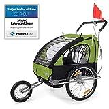 SAMAX Rimorchio Bicicletta Passeggino Bambini 2en1 Carello Portabambini Bici Transporto Sicurezza Completamente Ammortizzato en Verde/Nero - Silver Frame