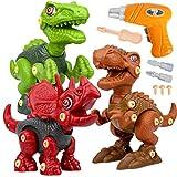 Dinosauri Giocattolo con Trapano Giocattolo, Smontaggio Costruzioni includono Tyrannosaurus Rex, Velociraptor e Triceratops per Bambini 3 anni