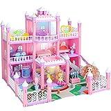 KAINSY Casa Bambole,232PCS Casa delle Bambole per Bambina Giocattolo dei Bambini 3 Piani con Mobili e Accessori Completi e Bambole