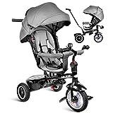 besrey 7 in 1 Triciclo Passeggino per Bambini Triciclo con Maniglione Triciclo a Spinta Bicicletta con Seggiolino Reversibile 360° da 6 Mesi - 6 Anni Grigio + Parapioggia Gratis