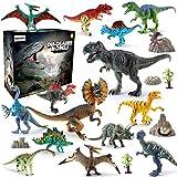 BeebeeRun 21 Pezzi Dinosauro Giocattolo Set,Giocattoli per Ragazzi e Ragazze,Educativo Realistico Dinosauri Modello per Bambini,14 Dinosauri+4 Giardino roccioso+2 Albero+1 Carta geografica