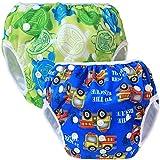 Teamoy 2pcs Baby Nappy riutilizzabile pannolino da nuoto, Turtles Green+ Cars Blue
