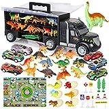 Bisarca Giocattolo Camion Giocattolo includere Uova Dinosaur e Dinosauri Giocattoli , Mini Auto da Corsa, Tappetto Gioco, Segnali Stradali per Bambini 37 Pezzi
